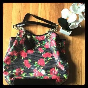 Beautiful Sequined Rose Betsey Johnson Handbag EUC